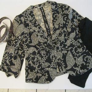 CAbi Black & Cream Eliza Brocade Blazer # 312